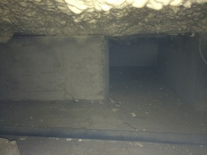 アフター 断熱材が床の裏にしっかり密着しています。厚さ100㎜です