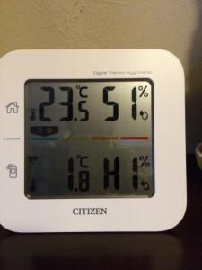 写真温湿度計の上段は室内 下段は屋外の温度 湿度 です